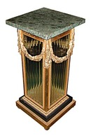 84.6110 Pair of Bronze Crystal and Marble Pedestals