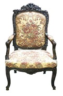30.6140 Four Carved Walnut Armchairs w/Needlepoint Fabric