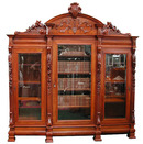 24.6143  Walnut Figural 3-Door Bookcase with Carved Ladies, Roses & Crest