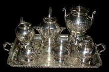 83.6148 19th C. American Eastlake 7 Pc Silver Plate Tea Set