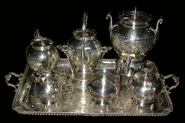 83.6148 19th C. American Eastlake 7 Pc Silver Plate Tea Set