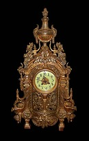 63.6127 Antique 3-Pc. 19th C. French Victorian Gilt Bronze Clock & Candelabra Set