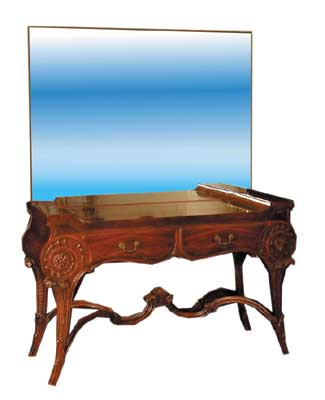 54.1955 Neo-Classical Mirrored Mahogany Vanity with Two Drawers