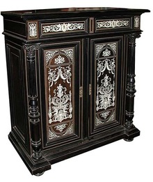 6187 Ebonized Cabinet wit Inlaid Mother of Pearl Details Attr: Herter Bros.