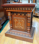 82.6212 19th C. Walnut  American Victorian Pedestal with Inset Marble Top