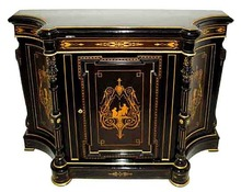 28.6213 19th C. American Victorian Inlaid & Ebonized Cabinet