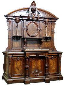 24.6221 19th C. Renaissance Revival Burled Walnut Sideboard