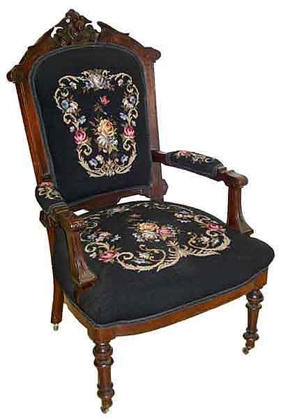 31.6223 19th C. American Renaissance Walnut Armchair  with Lady Head Crest