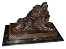 70.622419th C. Bronze of Lady Reclining on Lion Signed: Levasseur