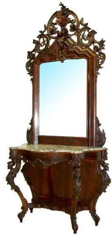 54.6225 Victorian Mahogany Marble Top Pier Table w/Matching Mirror