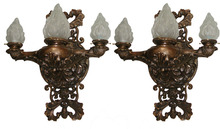 60.4793 Pair of Large Bronze Sconces with Glass Flame Shades
