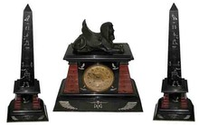 62.6258 3 Pc Egyptian Revival Clock Set