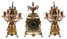 63.6296 19th C. Cast Bronze 3-Pc. Clock Set w/Lions