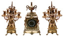 63.6296 19th C. Cast Bronze 3-Pc. Clock Set w/Lions