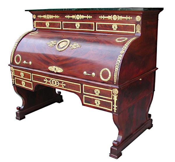 06.5102 French Empire Cylinder Desk w/Bronze Trim.