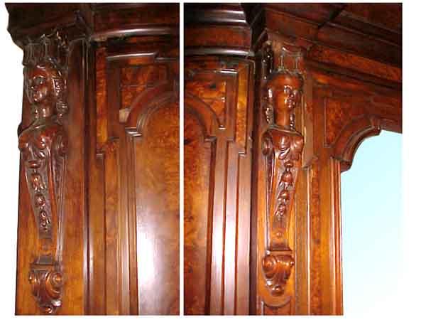 53.5074 19th C. American Walnut & Burl Armoire w/Large Beveled Mirror