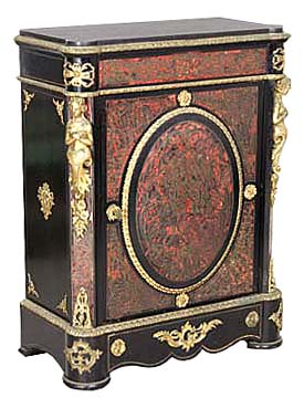 26.6330 Red Boulle Empire Style Cabinet w/Bronze Ladies & Trim