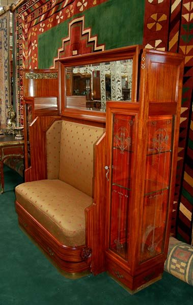 38.6266  Art Nouveau Couch and Curio Cabinet