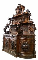 26.6342 Carved Victorian Sideboard by Alexander Roux, NYC