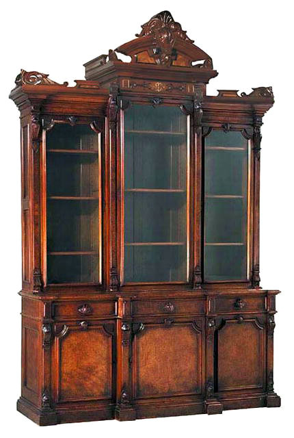 24.6343 Antique Renaissance Revival Burled Walnut Breakfront Bookcase