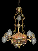 56.6036 19th C. French Victorian Chandelier w/Fabric Shade.