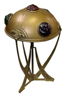 57.6344 Unusual Art Nouveau Table Lamp with Multi Colored Chunk Jewels
