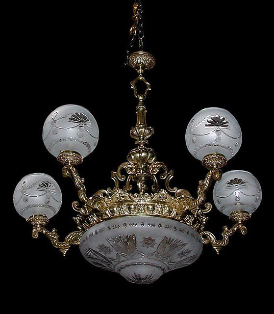56.6362 19th C. Bronze Chandelier