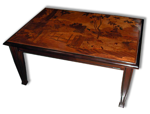 19.5500 Inlaid Art Nouveau Coffee Table with Tree & House Scene