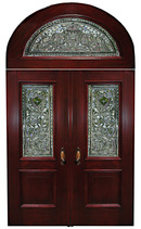 66.6128 Mahogany Stained Glass Entry Way with Two Doors & Transom