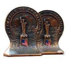 3357 Pair of Antique Bronze Statue of Liberty Bookends