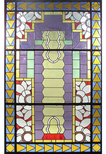 74.6406 Unusual Asymmetrical Art Deco Leaded & Stained Glass Window
