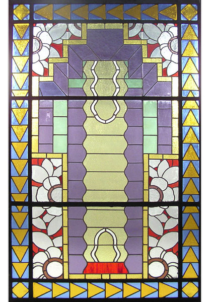 74.6406 Unusual Asymmetrical Art Deco Leaded & Stained Glass Window