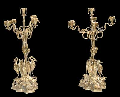 64.383 Pair of American Bronze Candelabra w/Herons at Base.