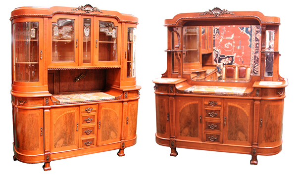 44.5109 11 Pc. Mahogany & Walnut Empire Dining Suite c. 1920
