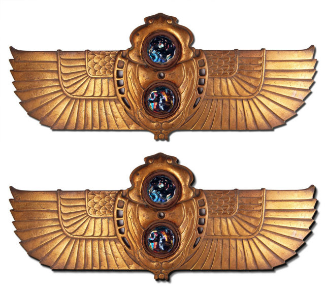 82.6451 Pair of Tiffany Cast Bronze Egyptian Revival Wall Plaques