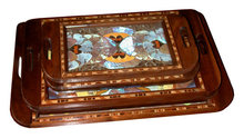 81.6453 Set of 5 Art Deco Walnut Decending Trays w/Decorated Inlaid Butterflies