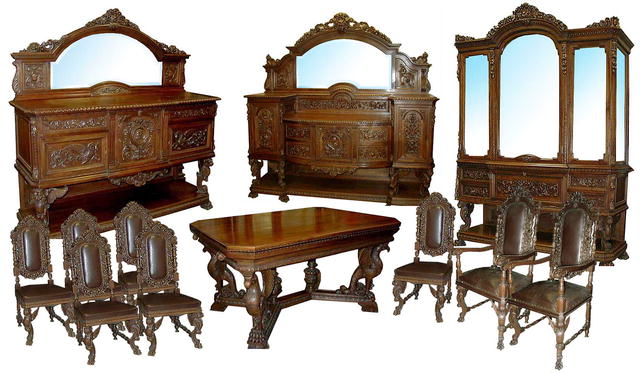 Antique Carved Figural 12-piece Dining Suite in Walnut