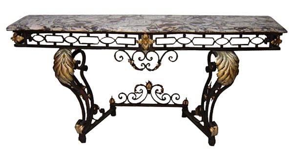 54.6488 French Art Deco Wrought Iron Console with Marble Top