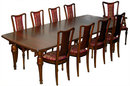 43.1179 13-Pc. French Art Nouveau Mixed Wood Dining set by Hector Guimard