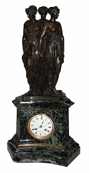 63.6492 Antique Bronze & Marble Mantel Clock of the 3 Graces