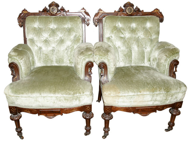 33.6497 American Carved Walnut 3-Pc. Sofa Set  w/Bronze Medallion c. 1870