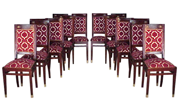 5195 Early 20th C. French Dining Suite 15 piece with Ormolu and Beveled Glass