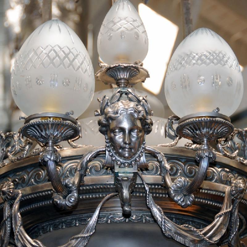 6991 Silver Over Bronze Chandelier with Female Masks