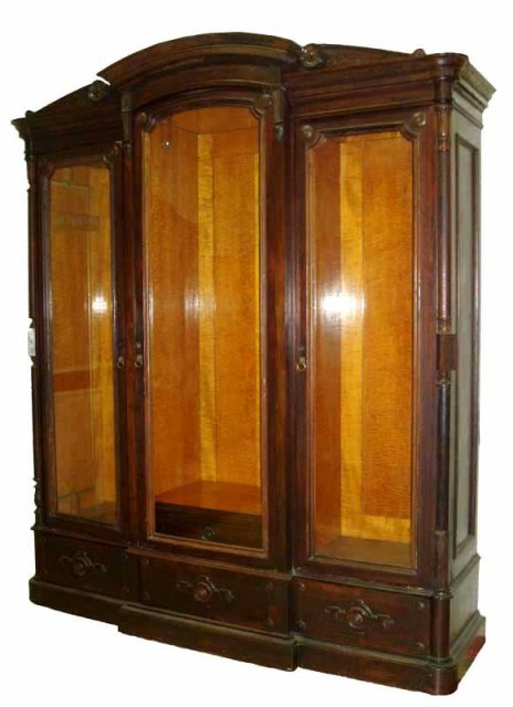 24.6521 American Renaissance Rosewood 3 door Bookcase w/Fabulous Birds Eye Maple Interior