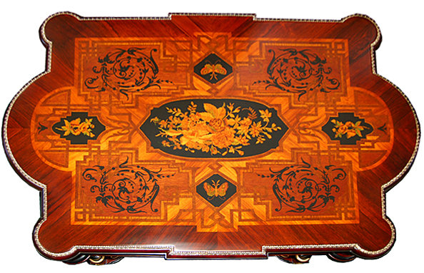 6527 19th C. American Rosewood Inlaid Coffee Table with Butterflies