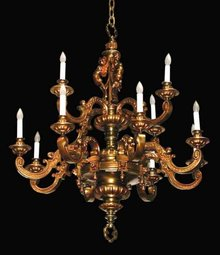 57.6542 French Victorian Bronze 2 Tier Chandelier