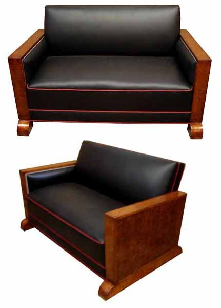 32.6547 3 Pc Art Deco Couch Set Upholstered in Black Leather with Red Pinstriping c. 1920