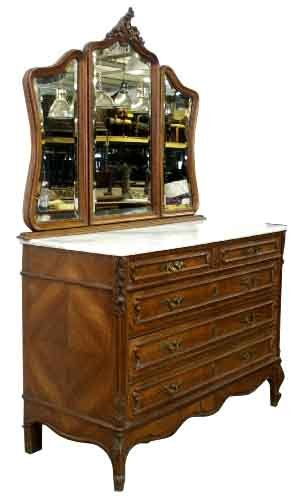 26.1198 French Walnut Dresser with 3 Part Mirror