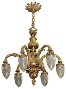 56.5203 19th C. 6 Arm Chandelier with Cut Glass Bullet Shades.
