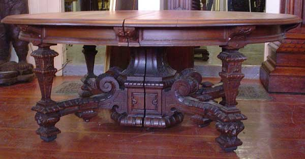 12.6568 19th C. Victorian Oak Table with Square Legs & Lion Heads